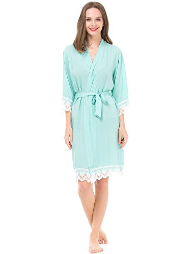 Mr & Mrs Right Women's Cotton Kimono Robe for Bride and Bridesmaid with Lace Trim Mint
