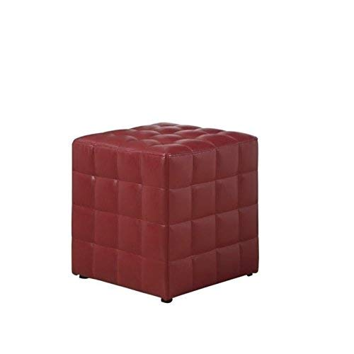 Monarch Specialties Leather-Look Ottoman, Red (Mission Ottoman Style Footstool)