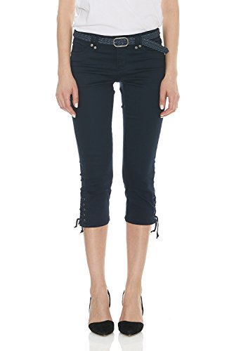 Suko Capri Pant for Women with Braided Woven Belt 17733 Navy 8 ()