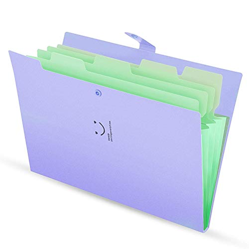 Skydue Letter A4 Paper Expanding File Folder Pockets Accordion Document Organizer (Purple) (Green Screen Projects For High School Students)