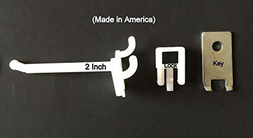 (500 PACK) 2 Inch Locking White Plastic Pegboard Peg Hooks (500 Locks, 20 Keys) by STRIKE (Image #4)