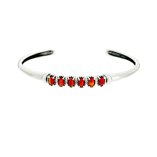 American West Sterling Silver Coral Cuff Bracelet by American West
