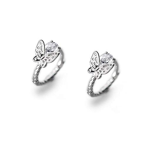 (Tiny Filigree Butterfly Twisted Hoop Earrings for Women Teen Girls S925 Sterling Silver Charms Solitaire CZ Crystal Diamond Round Screw Thread Dangle Cuff Cartilage Earrings Hypoallergenic Huggie)