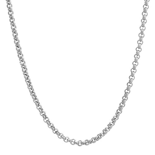 TRIPOD JEWELRY 3MM-4MM Mens Womens 925 Sterling Silver Chain Rolo Cable Chain Necklace 18-22Inch,Made in Italy,Multiple Sizes (3mm White Gold, 20) (Silver Cable Sterling 4mm)
