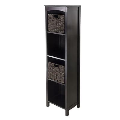 Wood & Style Premium Décor 3pc Storage 5-Tier Shelf with 2 Small Baskets