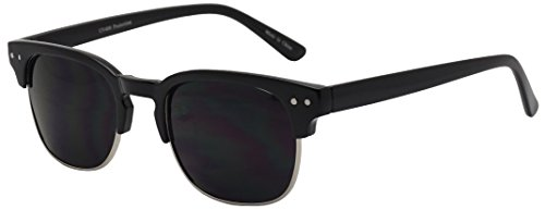Classic Semi Frame Horned Rim Super Dark Tinted Designer Inspired Unisex Sunglasses (Black Silver, - Sunglasses Very Tint Dark