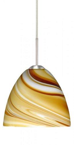 Besa Lighting 1BC-7572HN-HAL-SN 1X40W G9 Sasha II Pendant with Honey Glass, Satin Nickel Finish (Honey 7572hn Sn)