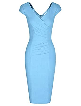 MUXXN Women's 1950's Vintage V Neck Ruched Sheath Formal Pencil Dress - - Small
