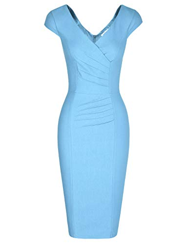 MUXXN Audrey Hepburn 1960s Style V Neck Empire Waist Casual Cute Light Blue Dress (Airy Blue XXL) -