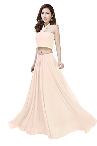Full Dress Chiffon Prom Skirt (Sissily Women Summer Chiffon High Waist Pleated Big Hem Full/Ankle Length Beach Maxi Skirt(Large/Beige))