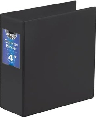(Find It Heavy Duty Flat Binder, 4 Inches, Non-View, Black (FT07094) )