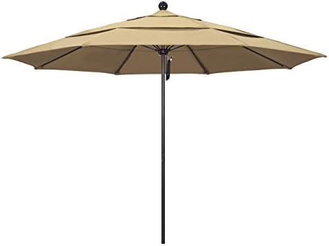 California Umbrella 11 Round Aluminum Fiberglass Umbrella, Pulley Lift, Bronze Pole, Pacifica Beige Fabric