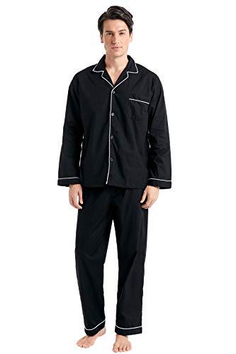 TONY AND CANDICE Men's Cotton Pajama Set, Long Sleeve Button-Down Woven Sleepwear (Black with White Piping, Medium) Black White Mens Sleepwear
