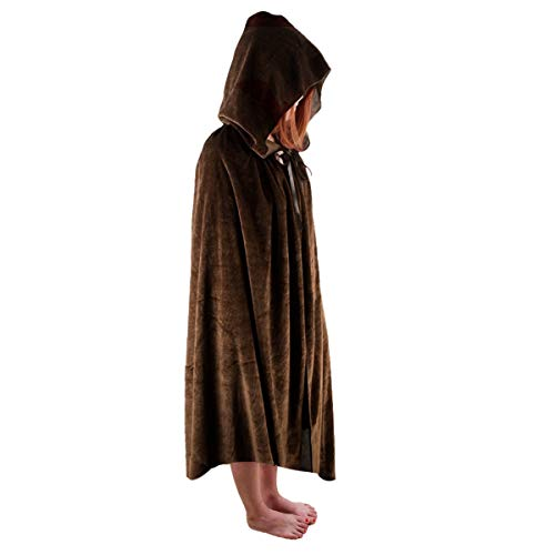 SUNYIK Unisex Kids Velvet Long Hooded Cloak Cape Halloween Party Role Cosplay Costumes,Brown,M