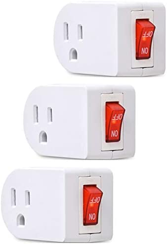 BindMaster 3 Prong Grounded Single Port Power Adapter with Red Indicator On//O...