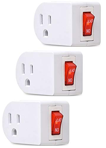- Electes 3 Prong Grounded Single Port Power Adapter with Red Indicator On/Off switch {Value! 3 Pack}