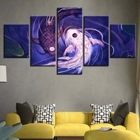 Ghome5 Paintings 5 Pieces Koi Yin Yang Fish Avatar Pictures HD Printed Poster Framework Modular Wall Art -