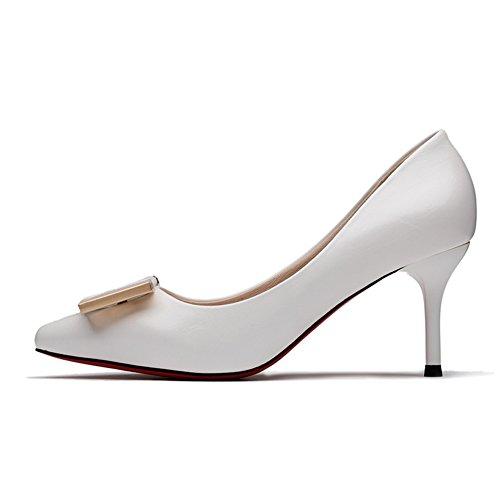 Hoxekle Mujeres Sexy Tacones Altos Bombas De Tacón De Aguja Primavera Moda Nuevo EleHombresto Zapatos Blanco