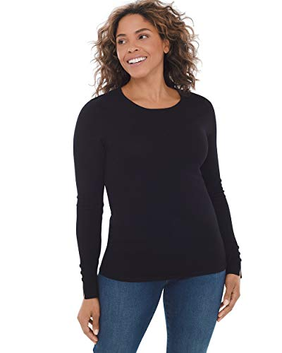 Sleeve Black Sweater Pullover Long - Chico's Women's Button-Sleeve Pullover Knit Sweater Top Size 12/14 L (2) Black