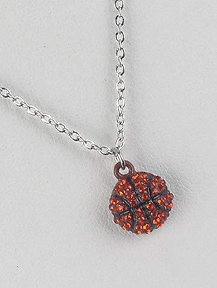 Orange Basketball Charm Pave Crystal Stone Necklace Fashion Jewelry FancyCharm