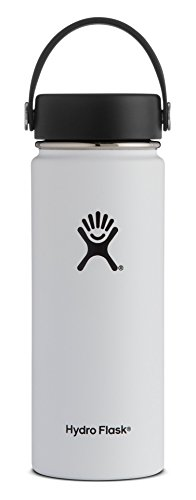 Hydro Flask 18 oz Double Wall Vacuum Insulated Stainless Steel Leak Proof Sports Water Bottle, Wide Mouth with BPA Free Flex Cap, White