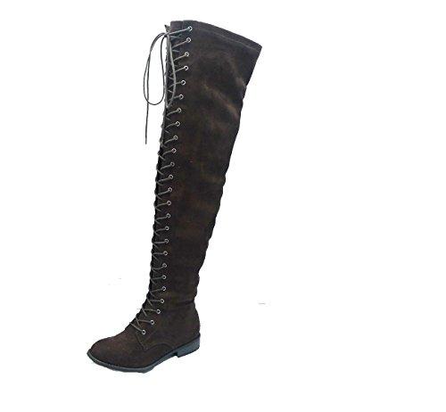 Premier Standard Damen Lace-Overknee-Overknee-Stiefel - Seitlicher Reißverschluss Comfy Vegan Suede BRAUN