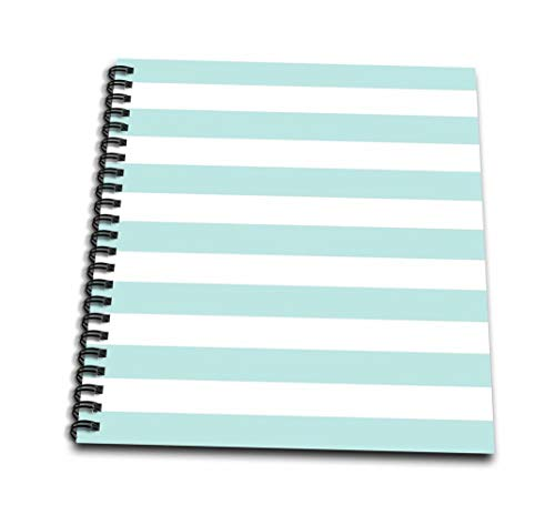 "3dRose Mint and White Striped Pattern-Retro Nautical-Pastel Turquoise Teal Aqua Sea Blue Green Stripes-Mini Notepad, 4 by 4"" (db_155677_3)"
