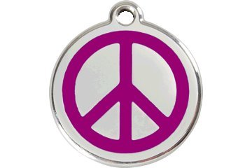 Red Dingo Custom Engraved Dog ID Tag - Peace Sign Large/Purple