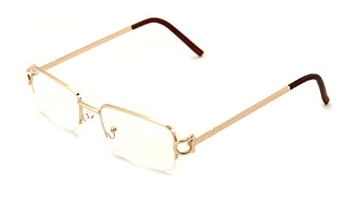 V.W.E. Rectangular Frame Clear Lens Designer Sunglasses RX Optical Eye Glasses (Gold, Clear)