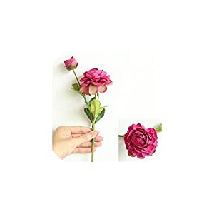Fashion-LN New 1pc Nordic Artificial Ranunculus Flowers for Wedding Decoration Party Home Decoration,Rose Red 88