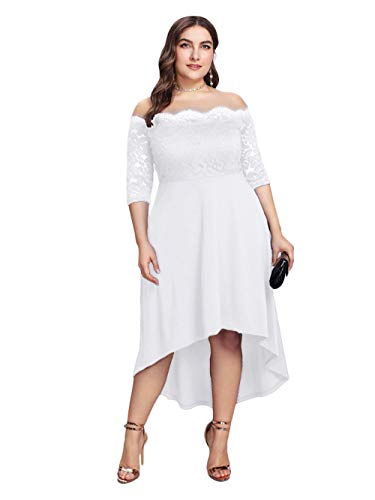 - GMHO Women's Plus Size Floral Lace Off-The-Shoulder Cocktail Formal Swing Dress (Pure White, 24W)
