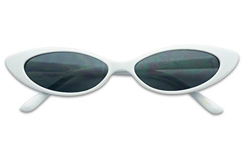 (Mini Vintage Retro Extra Narrow Oval Round Skinny Cat Eye Sun Glasses Clout Goggles (White Frame |)