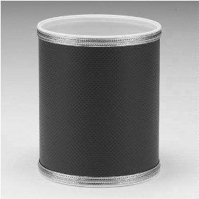 Budget Series Round Vinyl Wastebasket - Black/Silver Trim ()