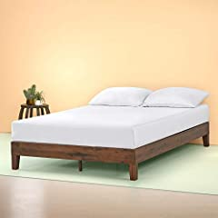 The Zinus Deluxe wood platform bed is beautifully simple and works well with any style of home décor. the 5.75 inch frame and legs are made of wood to support your memory foam, latex, or spring mattress. The Zinus wood platform bed is 12 inch...