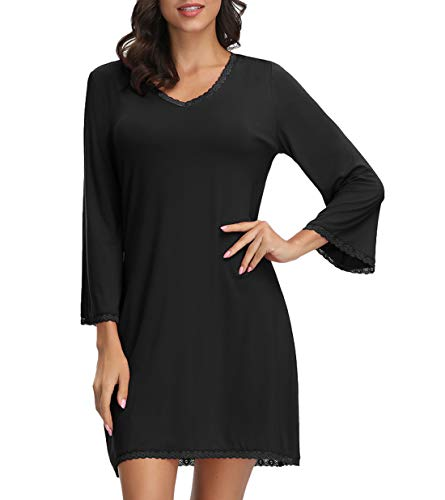 - Zexxxy Womens Nightwear Sleepshirt 3/4 Sleeve Sleepwear V-Neck Nightgown Chemise Black S