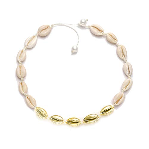 (HSWE Gold-Plated Cowrie Shell Choker Necklace Sea Shell Beaded Collar Necklace Adjustable Cowry Charms Cord Rope Hemp Necklace Handmade Boho Beach Summer Jewelry (White#3))
