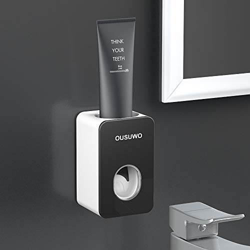 AINAAN Automatic Dispenser Set with Wall Mounted Hands Free Toothpaste Squeezer for Family Washroom Bathroom, 2019, Black