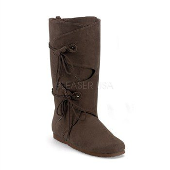 [Funtasma by Pleaser Men's Halloween Renaissance-100,Brown Microfiber,L] (Suede Renaissance Boot Costumes)