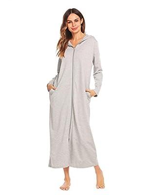Jingjing1 Women Long Sleeve Hoodie Sleepwear Zip-Front A-Line Bathrobe Long Robe