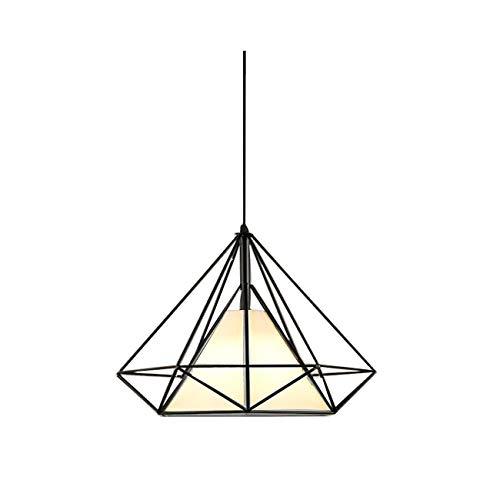 Pendant Lighting Chandelier Modern Vintage Diamond Shape Geometric Frame Lighting Hanging Light for Loft Kitchen Dining Room Hallway, White