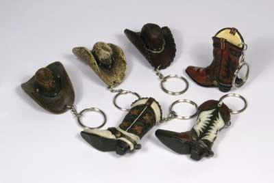 12 Pc Cowboy Hat / Cowboy Boot KEY Chain SET