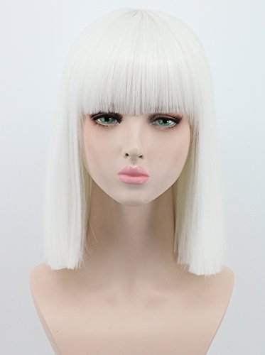 Yuehong Shoulder Length Lob White Halloween Party Bob Wigs For Women Costume Wig (White)