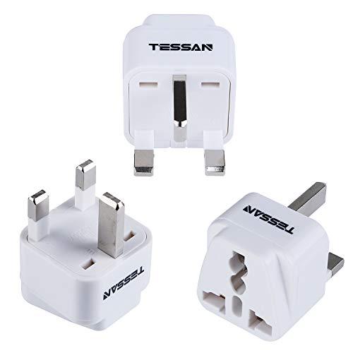 TESSAN Grounded Universal Travel Plug Adapter USA to UK Travel Prong Converter Adapter Plug Kit for UK (TypeG) - 3 Pack(WHITE)