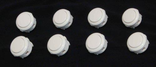 8 pc Set of White Sanwa Push Buttons ()