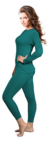 Rocky Womens Thermal 2 Pc Long John Underwear Set Top and Bottom Smooth Knit (Large, Teal) ()