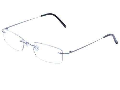 De Ding Rimless Titanium Eyeglasses (silver, - Eyeglass Chart Size