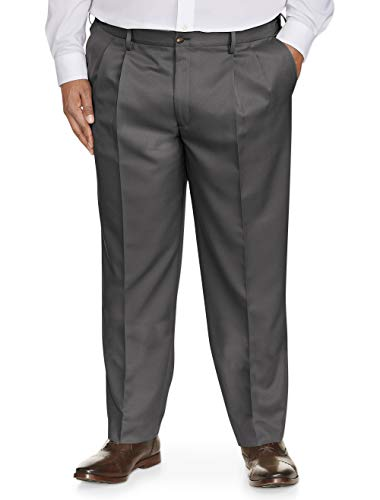 Amazon Essentials Men's Big & Tall Classic-Fit Wrinkle-Resistant Pleated Dress Pant, Dark Gray, 50W x 30L