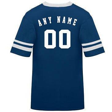 カスタマイズ名前/ Number On Back )ポリ/コットンアスレチックスポーツストライプスリーブジャージー/シャツサッカー、フットボール、カジュアル、学校。。。。21色、子供/大人サイズ8。 B00FL4R0LM Small|Navy/White Sleeves Navy/White Sleeves Small