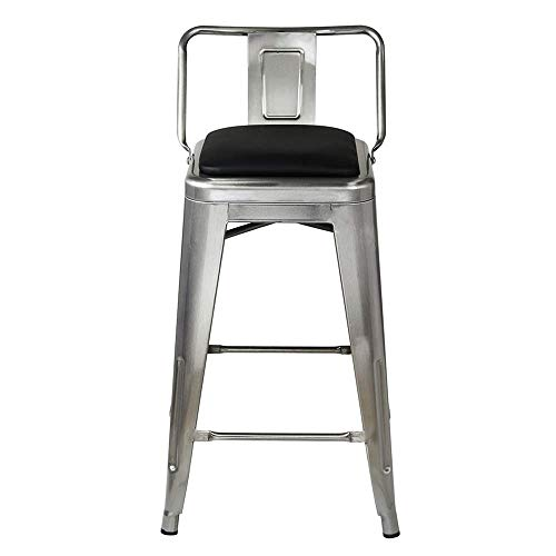 GIA 24-Inch Low Back Stool with Faux Leather Seat, Gunmetal Black, 4-Pack
