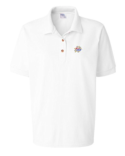 Speedy Pros All Star Sports Logo Embroidery Polo Shirt Golf Shirt - White, Small All Star Embroidered Jersey